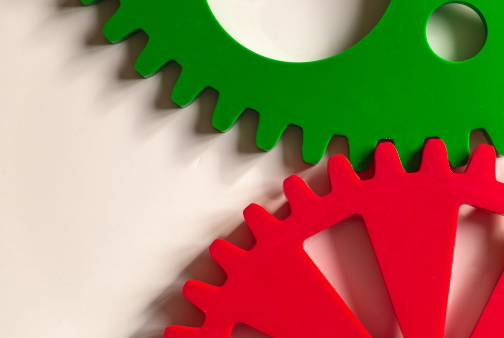 Colorful Cogwheels on White Background